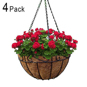 4 Pack Metal Hanging Planter Basket with Coco Coir Liner 10 Inch Round Wire Plant Holder with Chain  Indoor Outdoor Watering Hanging Baskets