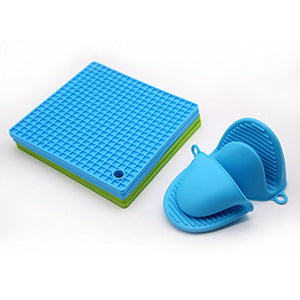 Antelope shop Silicone Pot Holder, Trivet Mat,Spoon Rest,Jar Opener & Coasters,Non-slip, Insulation, Durable, Flexible Trivet Table Kitchen(2 Blue & 2Green)