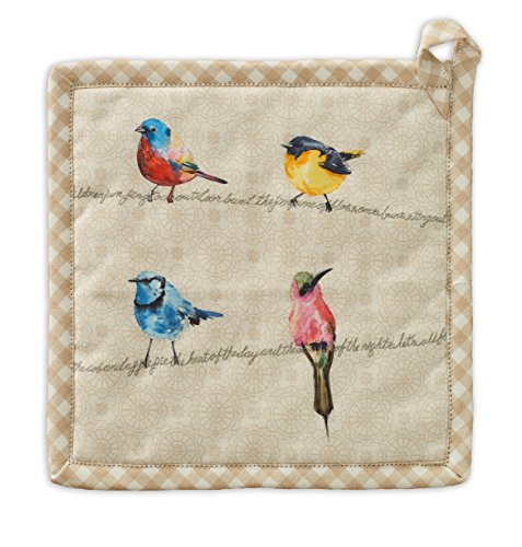Maison d' Hermine Birdies On Wire 100% Cotton Pot Holder, 8 - inch by 8 - inch.