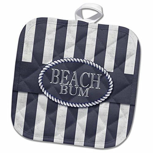3D Rose Nautical Themed Beach Bum in Distressed Navy Blue Stripes Pot Holder, 8 x 8