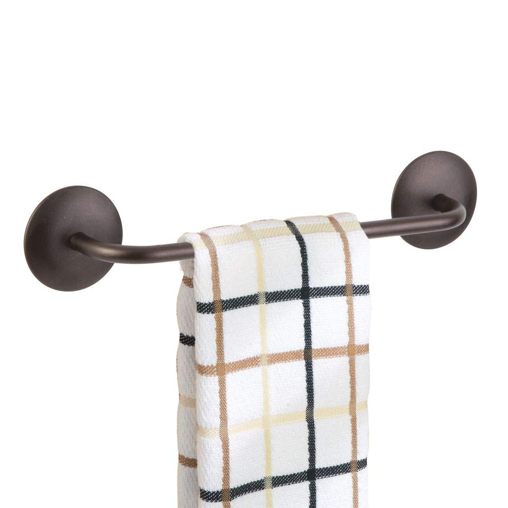 mDesign Decorative Metal Small Towel Bar - Strong Self Adhesive - Storage and Display Rack for Hand, Dish, and Tea Towels - Stick to Wall, Cabinet, Door, Mirror in Kitchen, Bathroom - Polished