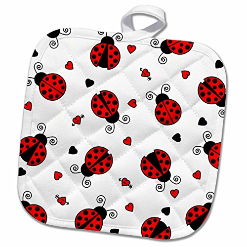 "3D Rose Love Bugs Red Ladybug Print with Hearts Pot Holder, 8"" x 8"""