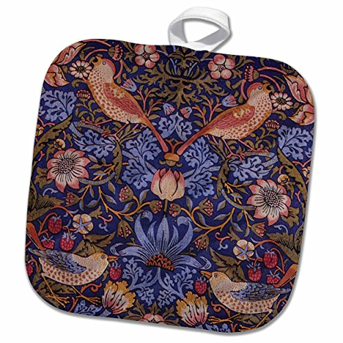 3D Rose Image of William Morris Strawberry Thief with Birds Pot Holder, 8 x 8
