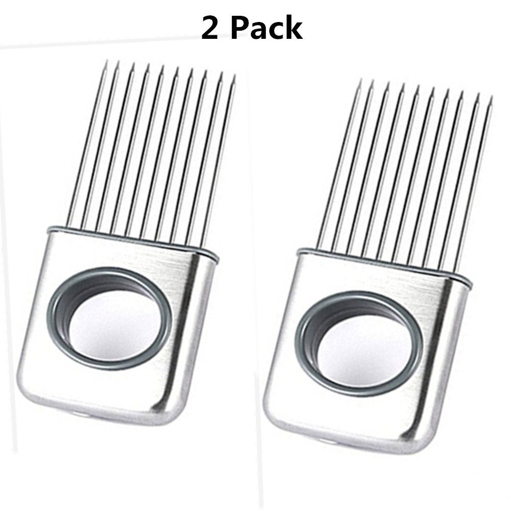 2 Pack Easy Onion Holder Slicer, Giveme5 Stainless Steel Cutting Kitchen Gadget Meat Onion Tomato Holder Slicer Cutter Vegetable Fruit Tools - Silver by MERRY BIRD
