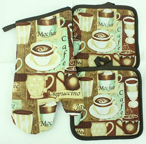 Kitchen Oven Mitt & Pot Holder Set Decor Hot Pad & Glove Combo (Cafe Coffee)