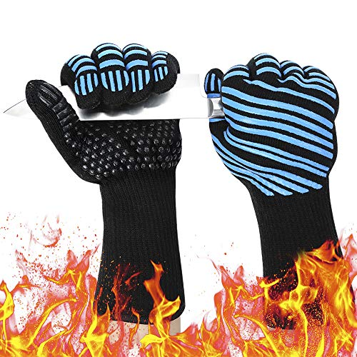 932? Extreme Heat Resistant BBQ Gloves, Food Grade Kitchen Oven Mitts - Flexible Oven Gloves with Cut Resistant, Silicone Non-slip Cooking Hot Glove for Grilling, Cutting, Baking, Welding (1 pair)