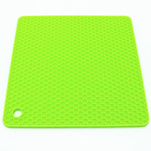 Lucky Plus Silicone Mat for Counter Top Hot Pads for Pan and Pot Heat Resistant Hot Protector Workshop,Table Placemats 4 Pack,Size:7.5x7.5 Inch, Color: Green,Shape:Square