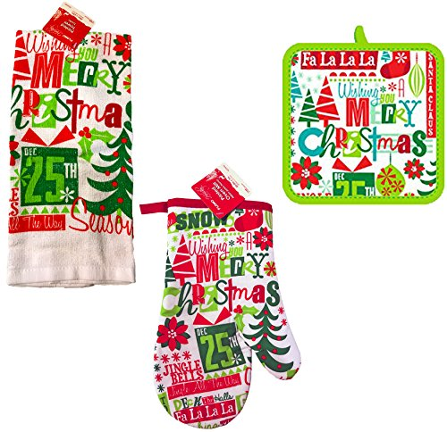 FLOMO Christmas Printed Kitchen Set- Towels, Oven Mitts, Pot Holders (Christmas Phrases)