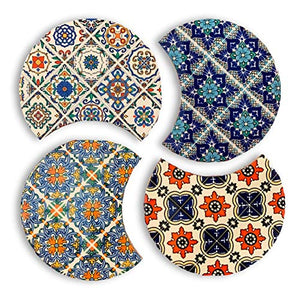 "Absorbent Ceramic Trivet/Coaster Set with Cork Base, Set of 4 Modern Moroccan Boho Table or Bar Coasters, Also Used as Kitchen Pot Holders, Hot Pad or Trivets for Hot Dishes, Pots and Pans, 4.25""in"
