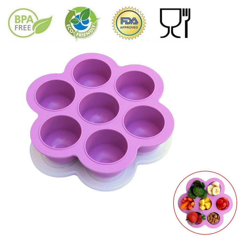 7 Holes Silicone Cooker Egg Cake Bake Molds for Instant Pot Accessories - Fits Instant Pot 5,6,8 qt Pressure Cooker, Reusable Storage Container and Freezer Tray with Lid, Baby Food container. Purple