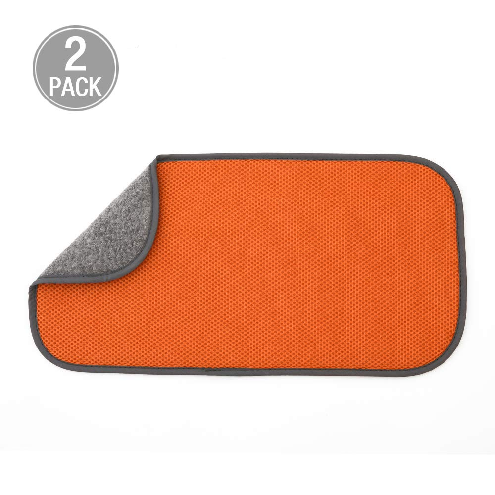 Jovilife Dish Drying Mat Kitchen Mat(set of 2) Microfiber Absorbent Washable, 918 Inch, Orange
