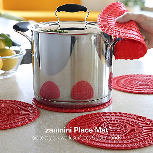 zanmini 4pcs Hot Pads for Countertops, 6 in 1 Silicone Trivets For Hot Dishes, with Pot Holder, Spoon Rest, Jar Opener, Large Coaster, Garlic Peeler, Easy Clean&Dishwasher Safe (Red)
