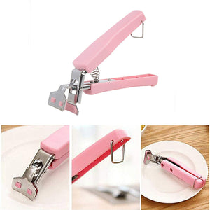 Cooking Tools Kitchen Stainless Steel Exquisite Bowl Pot Pan Gripper Clip Hot Dish Plate Bowl Clip Retriever Tongs (Pink)