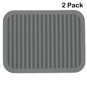 Lucky Plus Silicone Rubber Trivet Mat for Hot Pan and Pot Hot Pads Counter Mat Heat Resistant Table Dish Drying Mat or Placemats 2 Pack,Size:9x12 Inch, Color: Gray,Shape:Rectangular