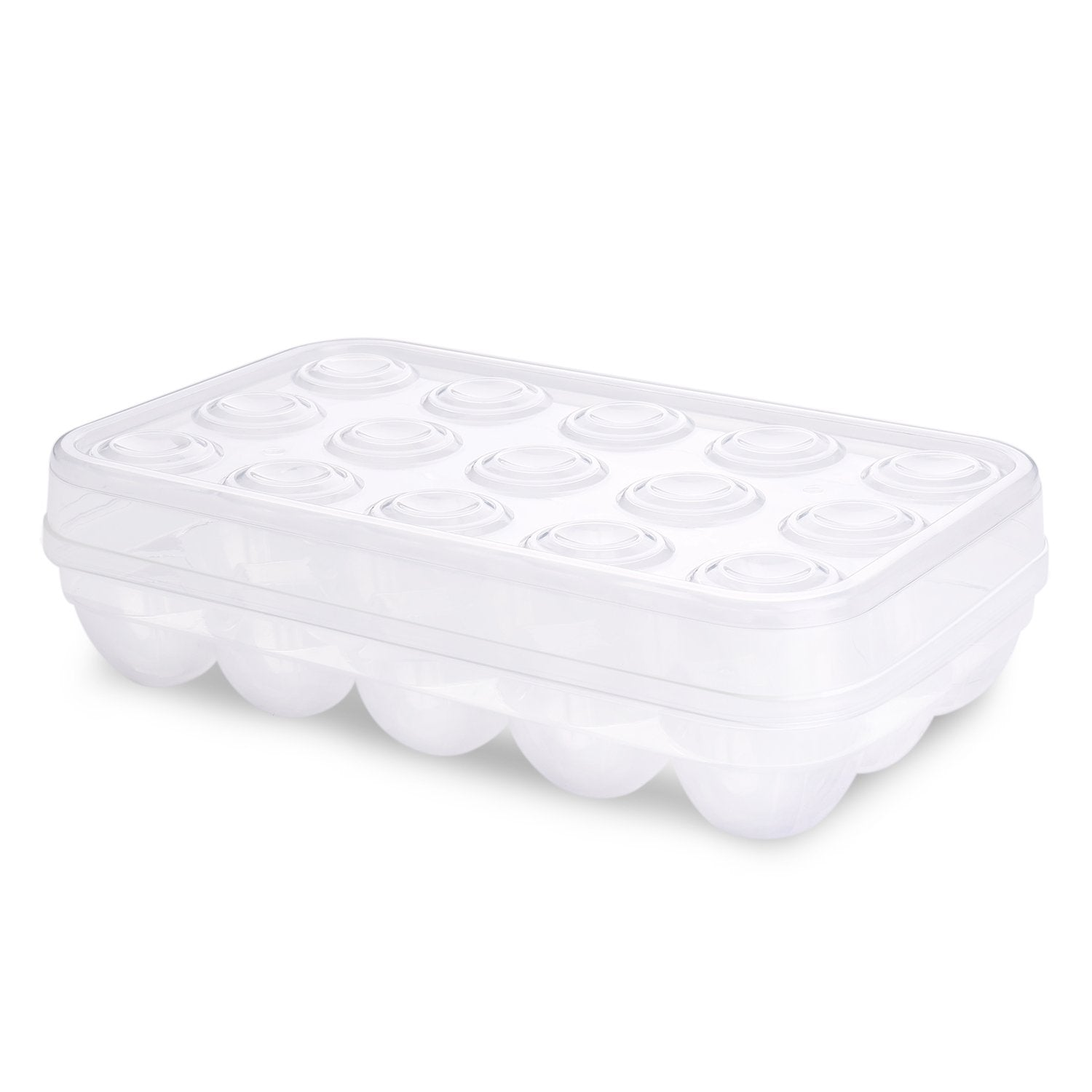 Flexzion Covered 15 Eggs Holder - Plastic Eggs Tray Container Dispenser Case Carton Box Carrier Stackable Storage Organizer Storer Keeper with Clear Lid Large Capacity for Refrigerator Fridge Home