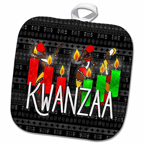 3D Rose Kwanzaa African American Dancers and Kinara Candles Pot Holder, 8 x 8