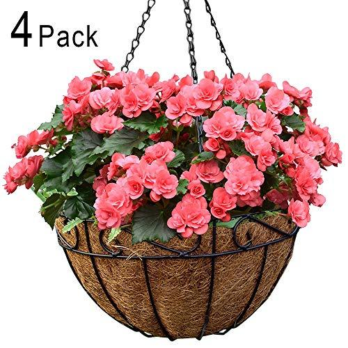 4 Pack Metal Hanging Planter Basket with Coco Coir Liner 14 Inch Round Wire Plant Holder with  Hanger Garden Decoration Watering Hanging Baskets