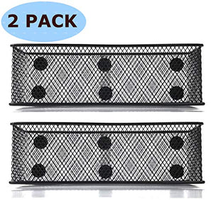 "Magnetic Locker Basket Magnetic Baskets for Refrigerator Magnetic Pen/Pencil Holder Locker Accessories - 7.8"" Wide - 6 Strong Magnets - 2 Pack - Black"
