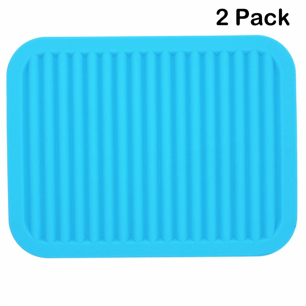 Lucky Plus Silicone Drying Mat for Dish Hot Pads for Counter Top,Pan and Pot Heat Resistant Hot Protector Workshop,Coffee Trivet Mat or Placemats 2 Pack,Size:9x12 Inch, Color: Blue,Shape:Rectangular