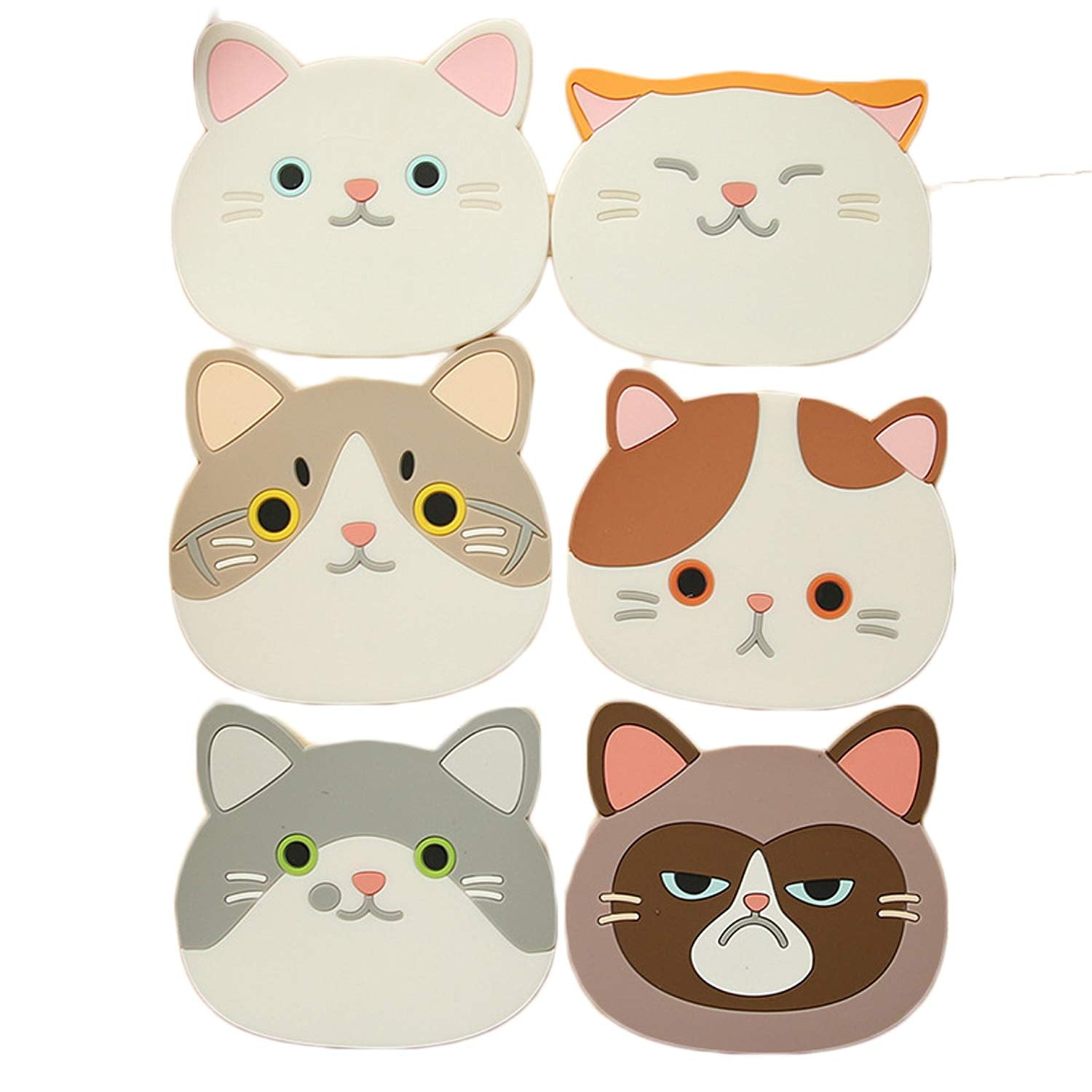 JLHua Finger Ring Silicone Multi-Use Cartoon Cat Trivet (Set of 6 Pack) Insulated Flexible Durable Non Slip Hot Pads and Coasters Cup Mats