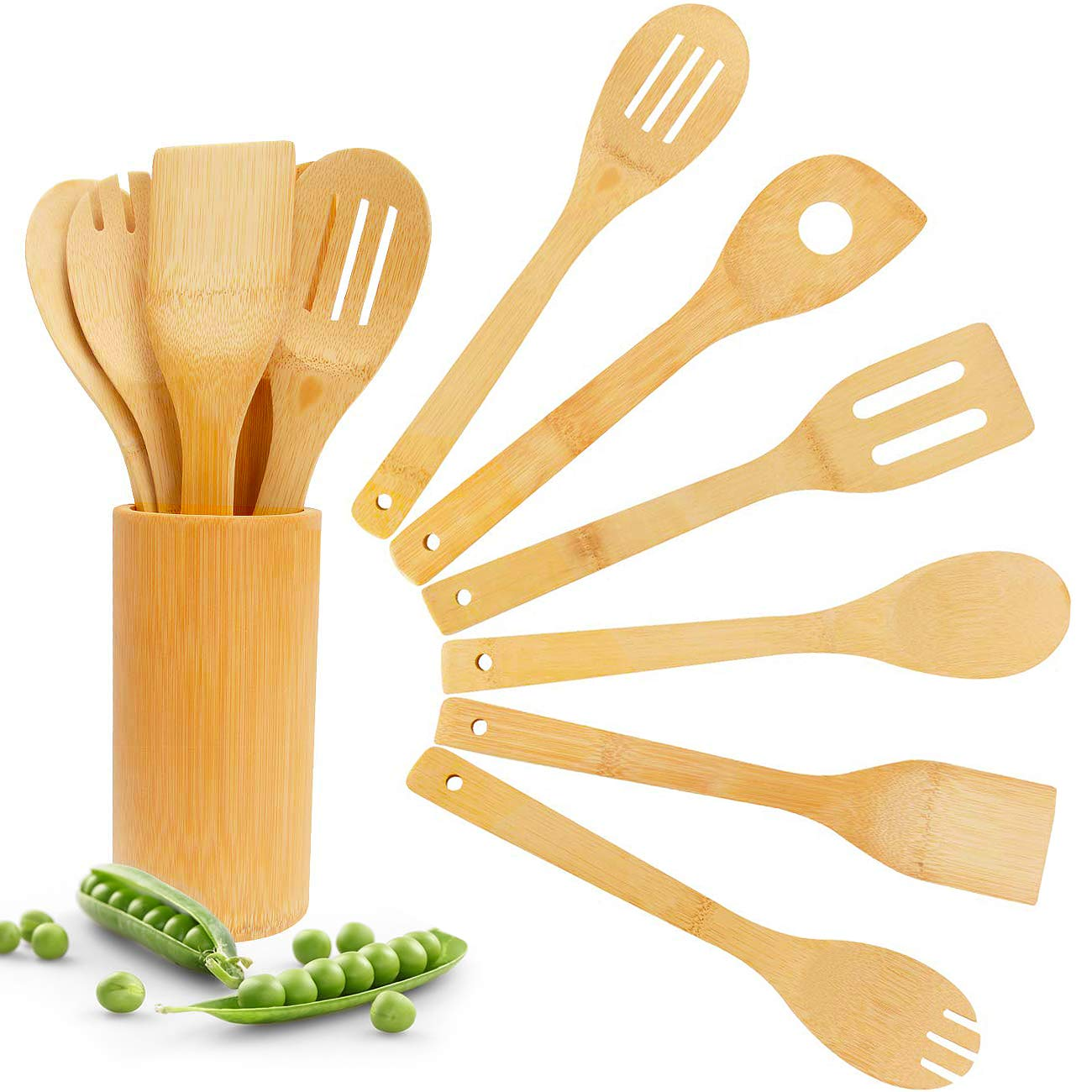 Kitchen Utensil Set with Holder Caddy Crock Rest Bamboo Nonstick Cooking Spoons Spatulas 6 Pieces Antimicrobial Healthy Kitchen Tools
