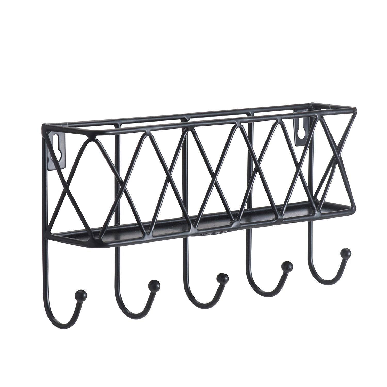 Letter Holder Organizer, Mail Sorter Storage Basket with Key Rack for Entryway, Kitchen - Wall Mounted, Metal, Black (basket key rack 002)