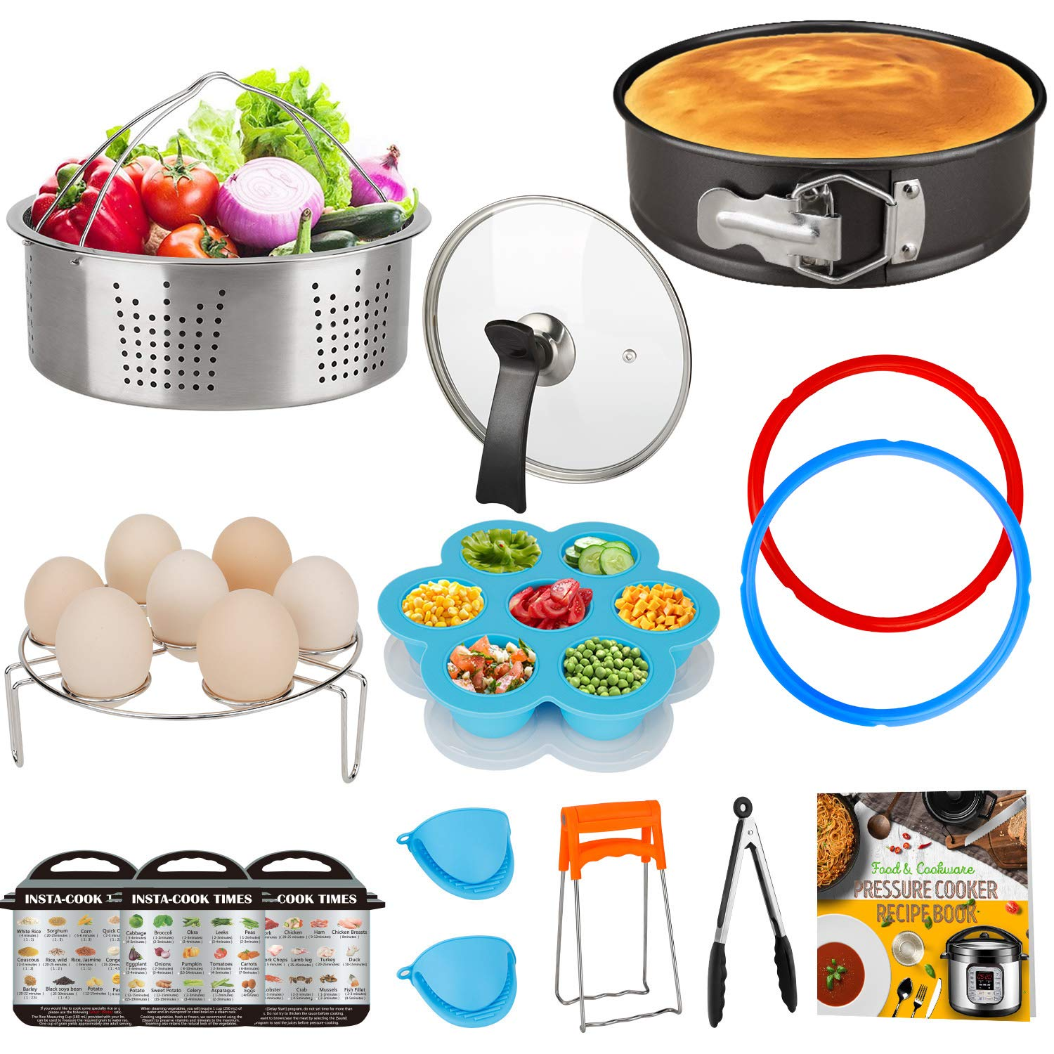 Accessories Set Compatible with 8 Quart Instant Pot Only with Sealing Rings, Tempered Glass Lid, and Steamer Basket.