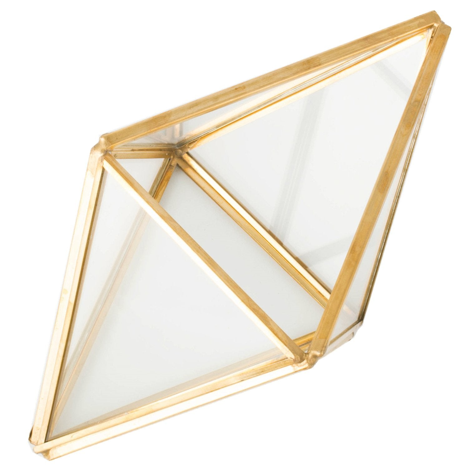 Glass Plant Terrarium Succulent Planter - Tchan Prism Geometric Tabletop Brass Glass Artificial Home Decor (gold)