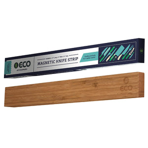 Magnetic Knife Strip | 17 Inch Bamboo Wood Knife Strip | Strong Magnetic kitchen knife holder & Magnet Utensil Organizer by ECO Kitchenware
