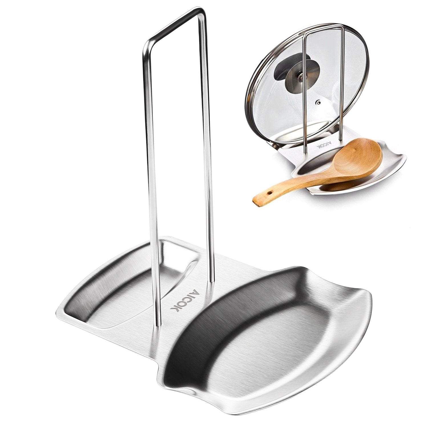 Aicok Lid and Spoon Rest, Utensils Lid Holder Spoon Holder Lid Rest Lid Shelf Kitchen Utensils Holders Stainless Steel in Silver, Thick Stainless Steel