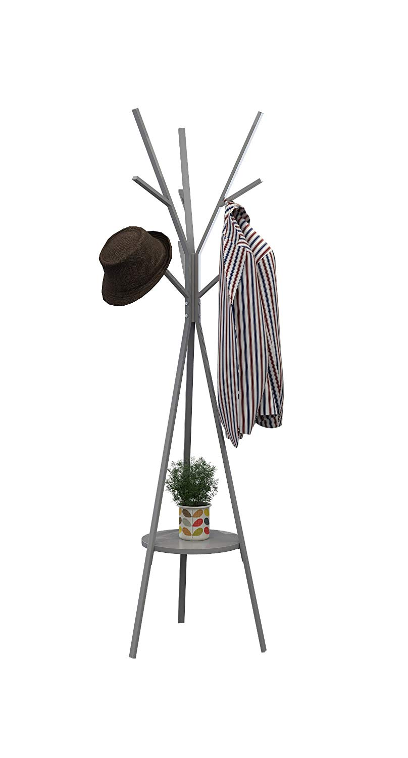 "Homebi Coat Rack Hat Stand Free Standing Display Hall Tree Metal Hat Hanger Garment Storage Holder with 9 Hooks for Clothes Hats and Scarves in Grey,17.72"" Wx17.72 Dx70.87 H"