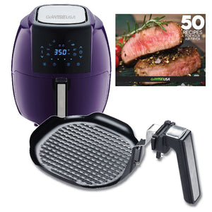 GoWISE USA 5.8-Quarts 8-in-1 Air Fryer XL + Insert Grill Pan with 50 Recipes for your Air Fryer Book (Plum + Grill Pan)