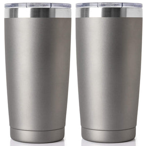 20oz Tumbler Double Wall Vacuum Insulated Coffee Mug Stainless Steel Coffee Cup with Lid, Travel Mug Works Great for Ice Drink, Hot Beverage (2 pack, Cold gray)