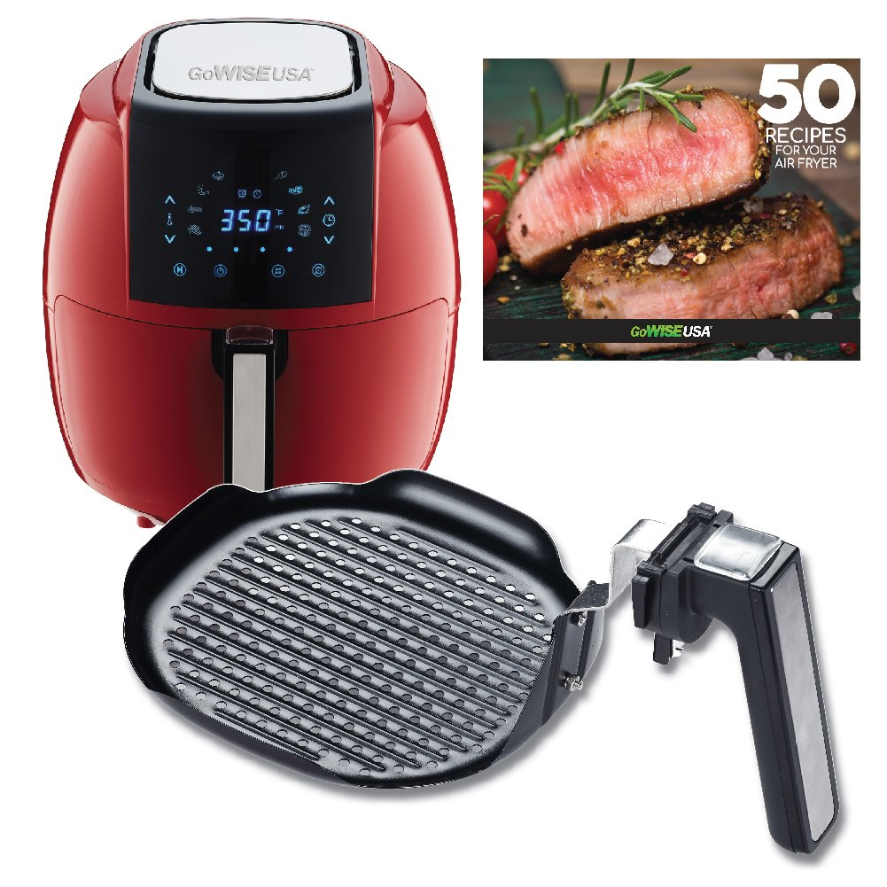 GoWISE USA 5.8-Quarts 8-in-1 Air Fryer XL+ Insert Grill Pan with 50 Recipes for your Air Fryer Book (Red + Grill Pan)