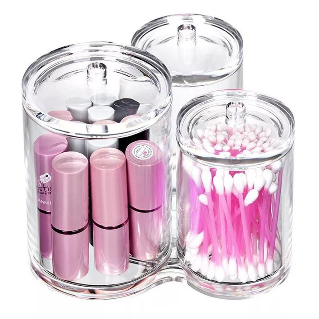 Hipiwe Clear Acrylic Cotton Swab Holder Preminm Quality Round Container Cotton Pad Q-tip Organize Case for Make Up Brush Clear Apothecary Jar