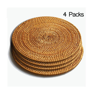 Hand Woven Rattan Pot Holder,Non Slip,Durable, Heat Resistant Hot Pads Perfect Modern Home Decor Heat Resistant Coasters Cup Insulation Mat (4piece, 6.3 inch)