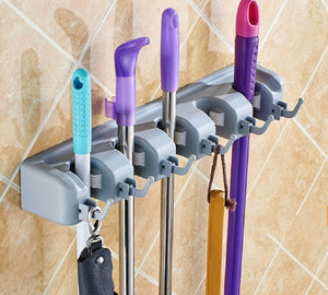 Broom, Mop, Kitchen, Garden, Garage and Shed Organizer Wall Mount 5 Ball Slots and 6 Hooks. Super Strong Grip