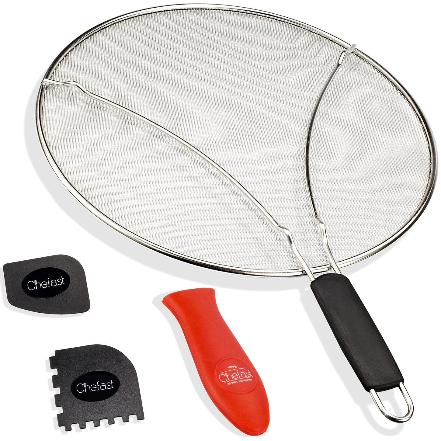 "Elite Splatter Screen Set by Chefast - Combo Kit of 9.75"" Grease Guard for Small and Medium Frying Pans, Cooking and Grill Pan Scrapers, and Silicone Hot Handle Holder - Ultra Fine Oil Splash Shield"