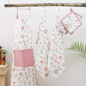 Kitchen combo Set, 100% Cotton, Set of Apron + Oven Mitten + Potholder & Pair of Kitchen towel, Eco - Friendly & Safe, Pink Spring Fields Design for Kitchen