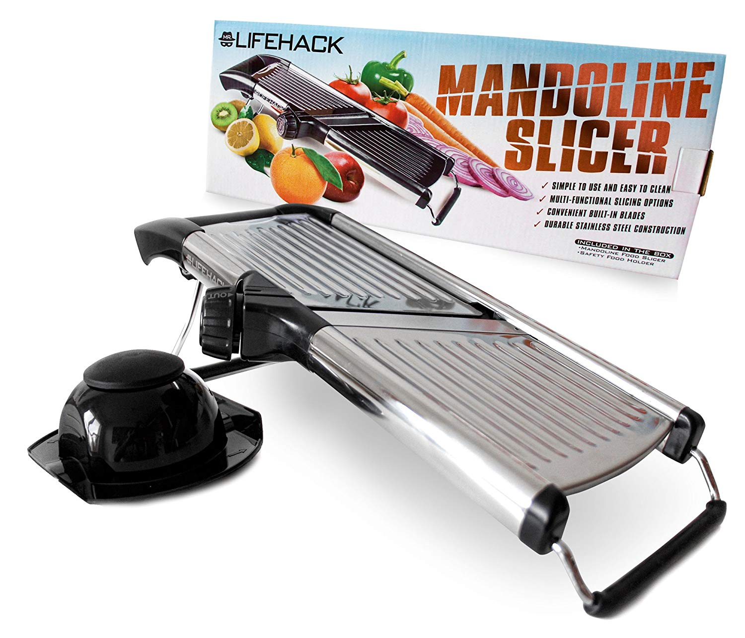 Mandoline Slicer - Stainless Steel Food Slicer With Adjustable Julienne Blade System - Best Fruit, Potato & Vegetable Cutter