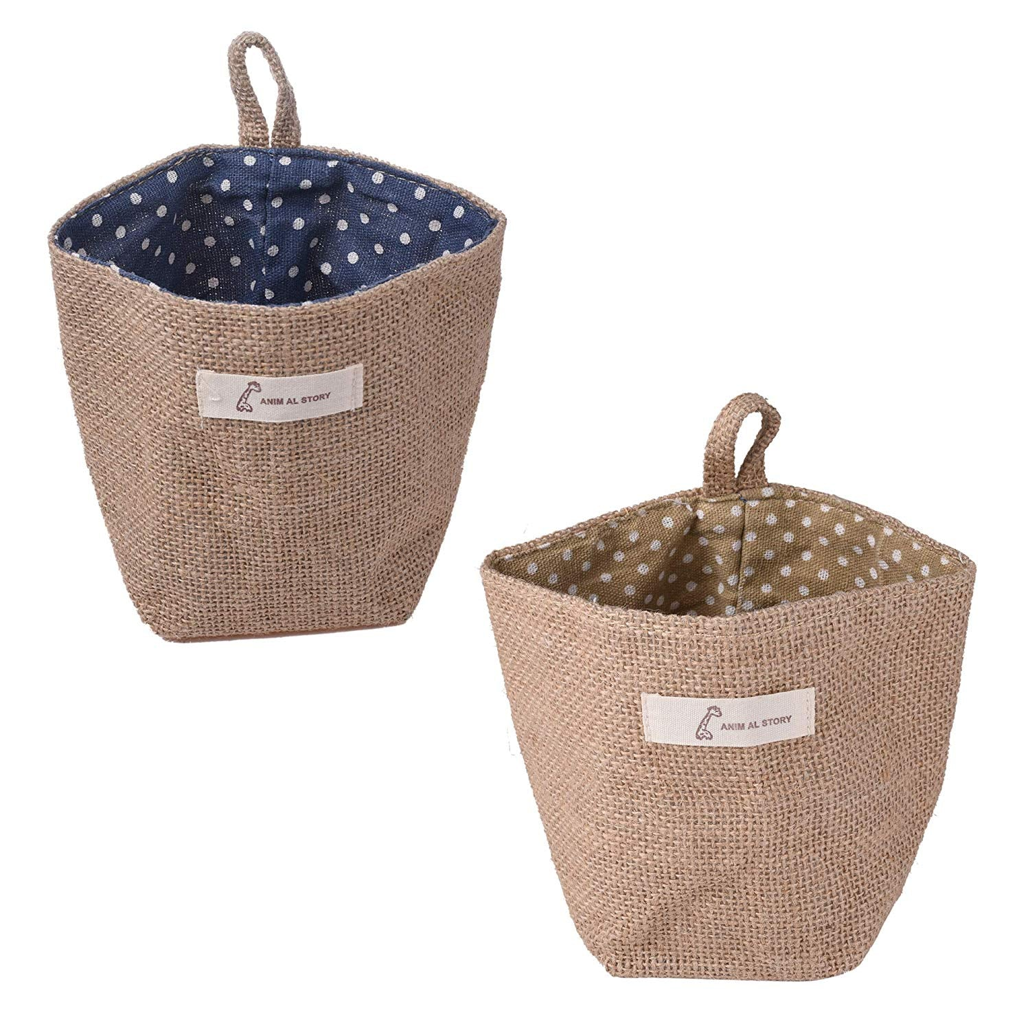CM Cosmos 2 Pcs Mini Hanging Storage Bag Cotton Linen Small Storage Basket Decor Bin Bag for Wall Door Closet (Blue & Yellow Dot Pattern)