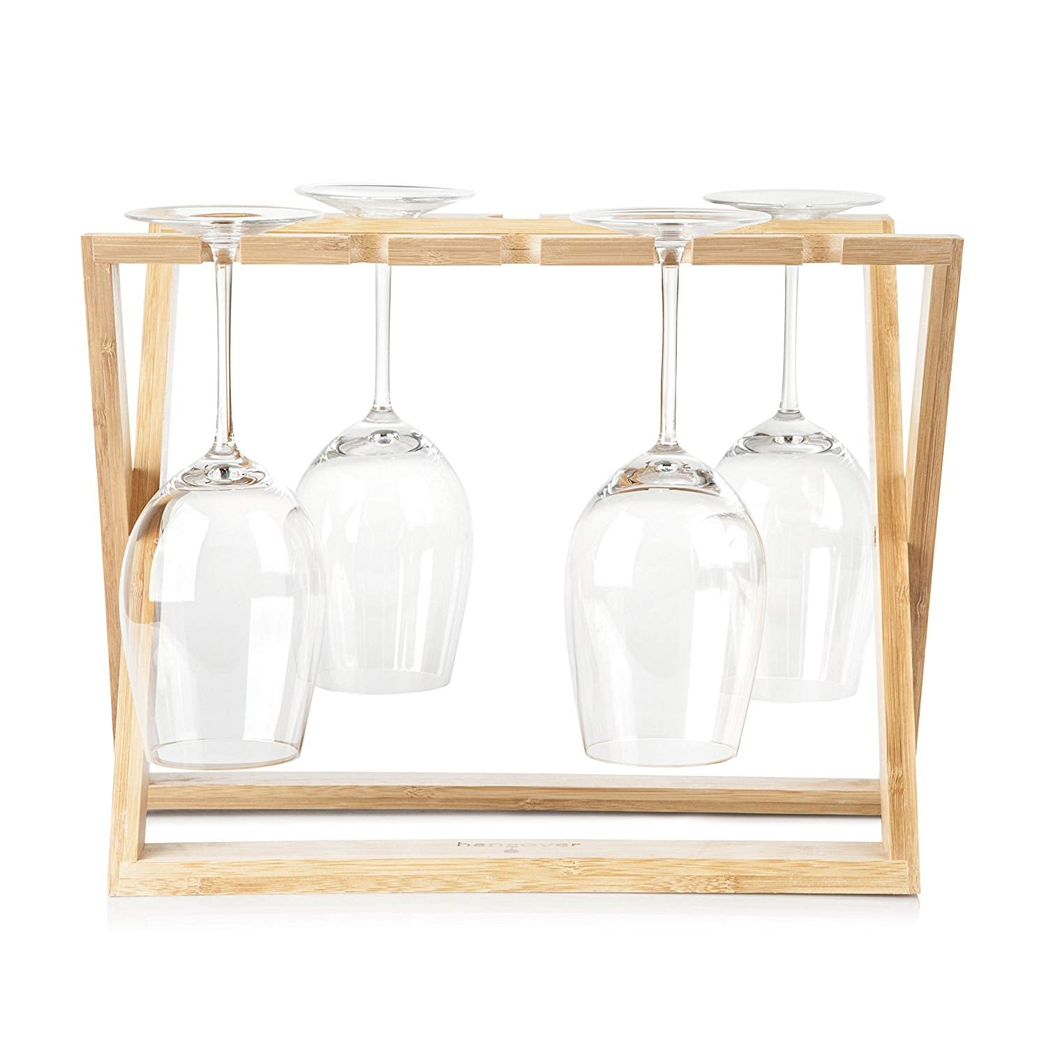 Bamboo Wine Glass Holder Rack: Hangover Foldable Stemware kitchen Organizer to Hold 6 Wine Glasses of Various Sizes, Countertop or Tabletop wood Storage, Display and Drying of Stemmed Wine Glasses