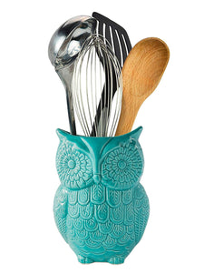 "Comfify Owl Utensil Holder Decorative Ceramic Cookware Crock & Organizer, in Lovely Aqua Blue Color - Utensil Caddy and Perfect Kitchen Ceramic Décor Gift - 5"" x 7"" x 4"" Size"