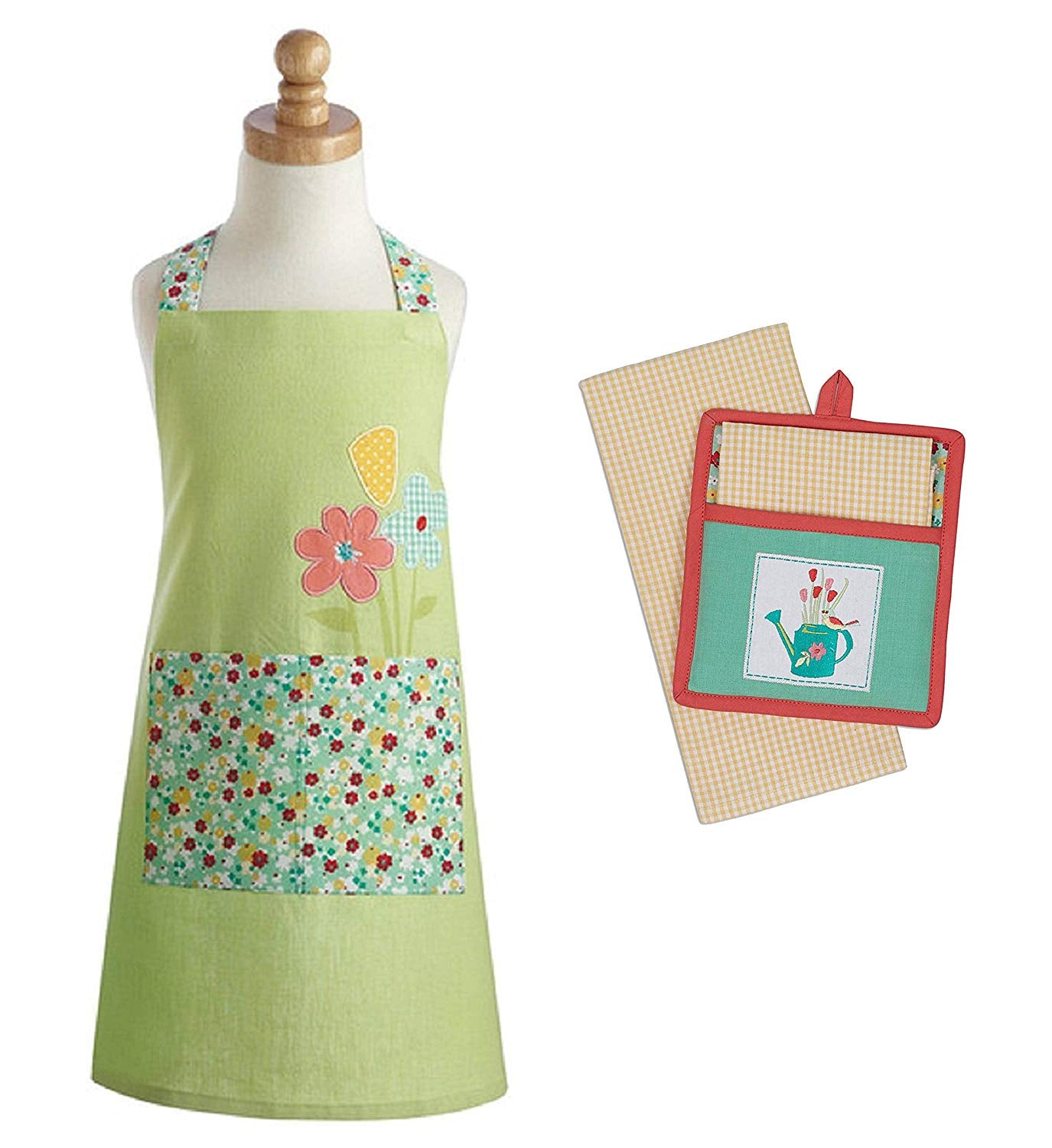Chef Set for Kids - Green Embroidered Daisy Apron Floral Pocket with Potholder Kitchen Towel - Green Daisy