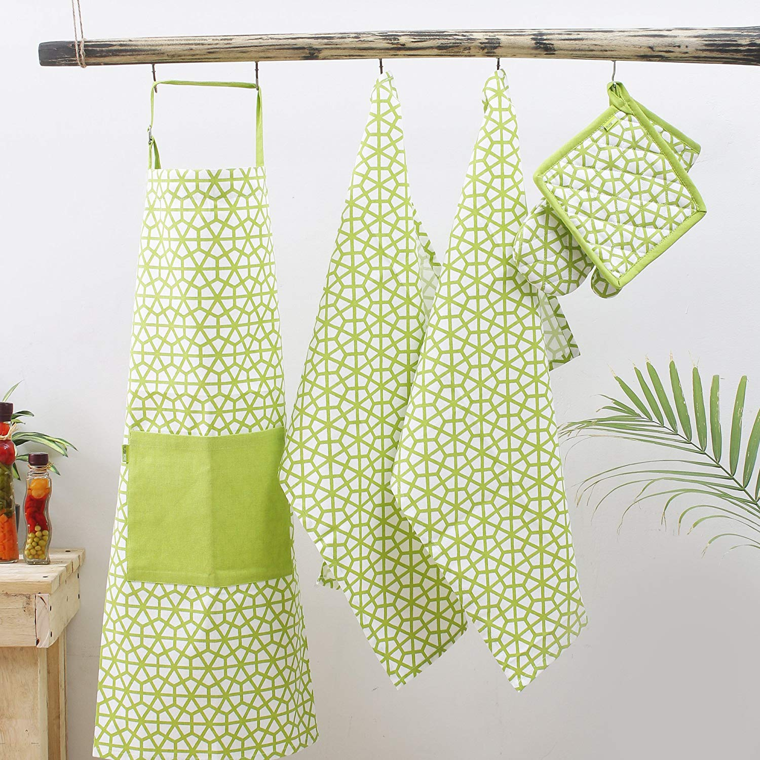 Kitchen combo Set, 100% Cotton, Set of Apron + Oven Mitten + Potholder & Pair of Kitchen towel, Eco - Friendly & Safe, Green, The Hive in Lime Design for Kitchen