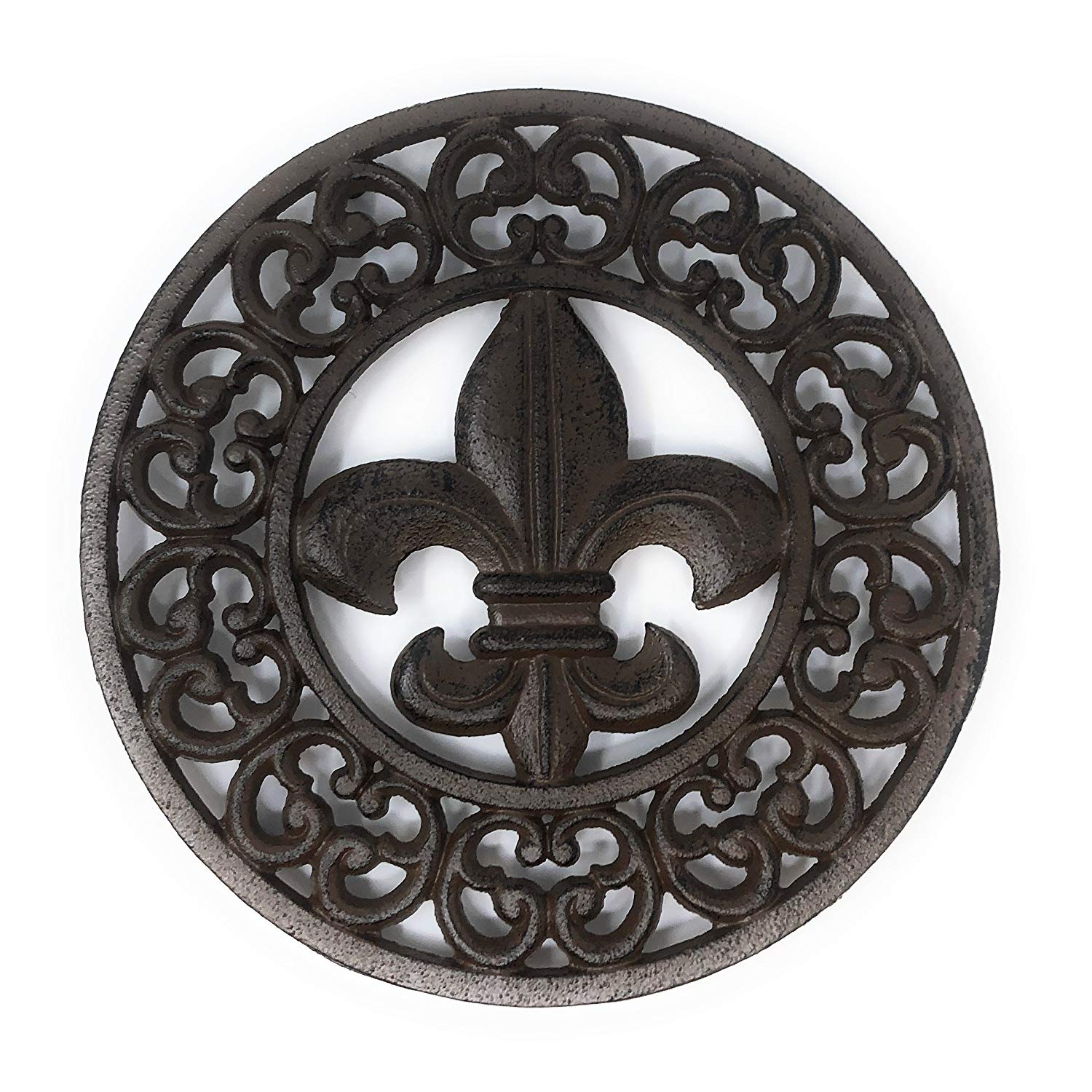 Cast Iron Fleur De Lis Trivet - Wall Hanging or Counter Top with Elegant Scroll work