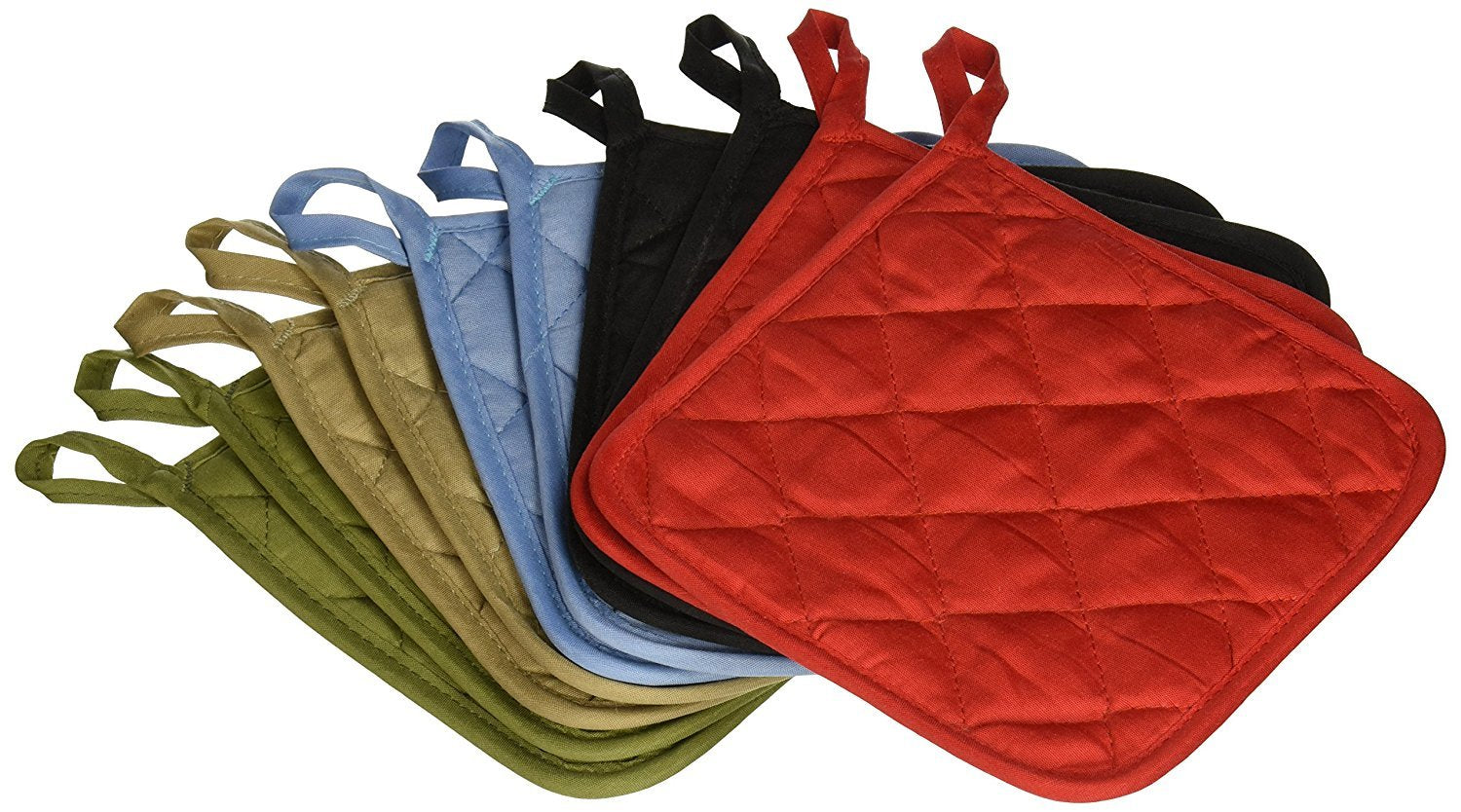 (Ten) 10 Pack Pot Holders 6.5 Square Solid Color Everday Quality Kitchen Cooking Chef Linens (Multi Color)