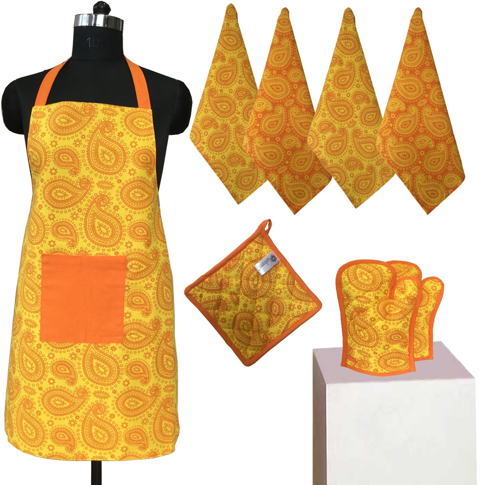 Lushomes Colorful Printed 2 in 1 Stylish Reversible Apron Set ( 1 Apron, 4 Kitchen towels, 2 Oven Mittens, 1 Pot Holder)