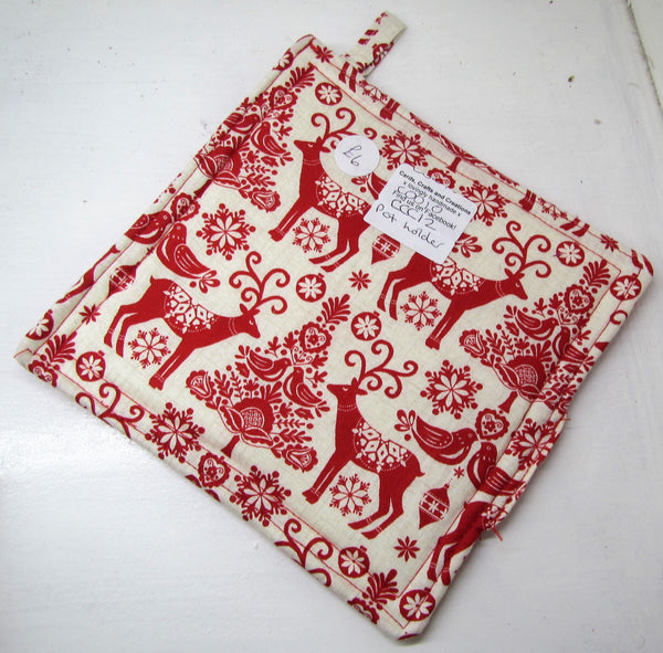 Beautiful handcrafted Christmas fabric pot holders