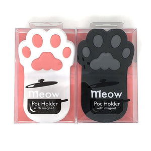 Cat Paw Silicone Pot Holder with Magnet, Black and White Paws (2 Grips B&W Set)